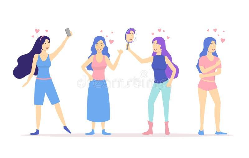 Os desenhos animados amam-se grupo dos povos dos caráteres do conceito das meninas Vetor ilustração stock