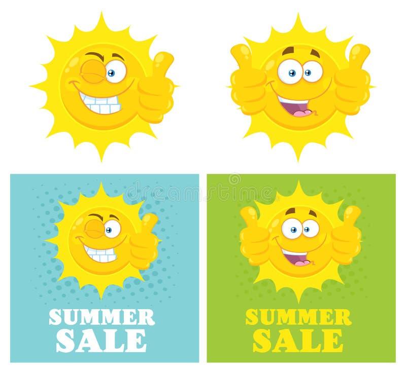 Os desenhos animados amarelos felizes Emoji de Sun enfrentam o caráter que dá os polegares acima Projeto liso ilustração royalty free