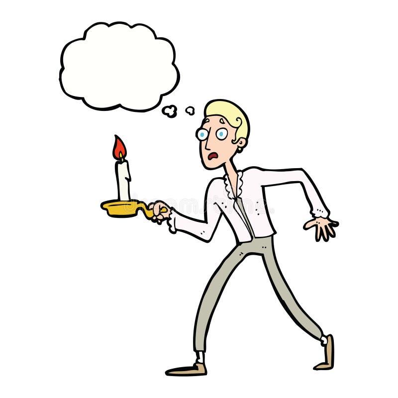os desenhos animados amedrontaram o homem que anda com o castiçal com bub do pensamento ilustração do vetor
