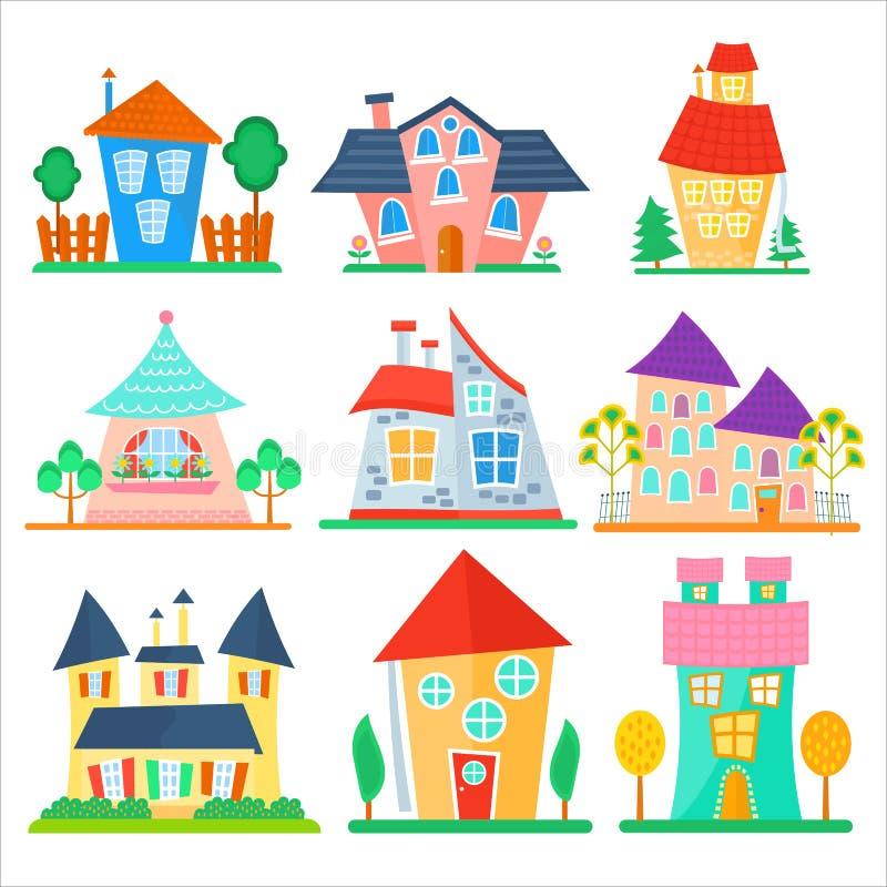 Os desenhos animados bonitos abrigam a coleção Grupo colorido engraçado da casa do vetor da criança ilustração royalty free