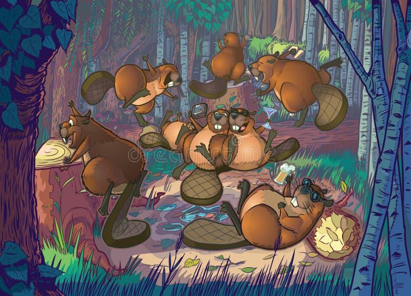 Os desenhos animados bonitos Beavers o partido em Forest Clearing ilustração stock