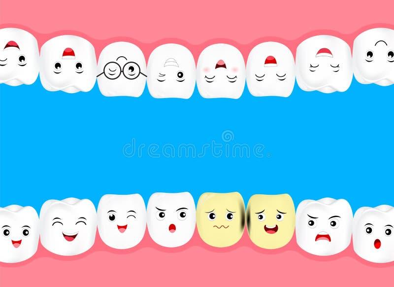 Os desenhos animados bonitos claream o dente com problema da deterioração ilustração do vetor