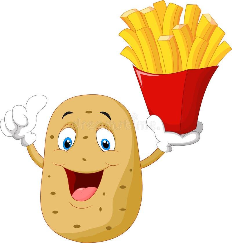 Os desenhos animados bonitos da batata que guardam batatas fritas dão o polegar acima ilustração royalty free