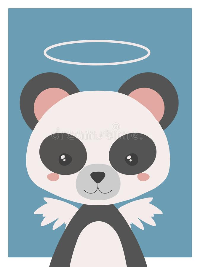 Os desenhos animados bonitos denominam a tiragem do animal do vecor do berçário de uma panda gigante do anjo da guarda com halo e ilustração royalty free