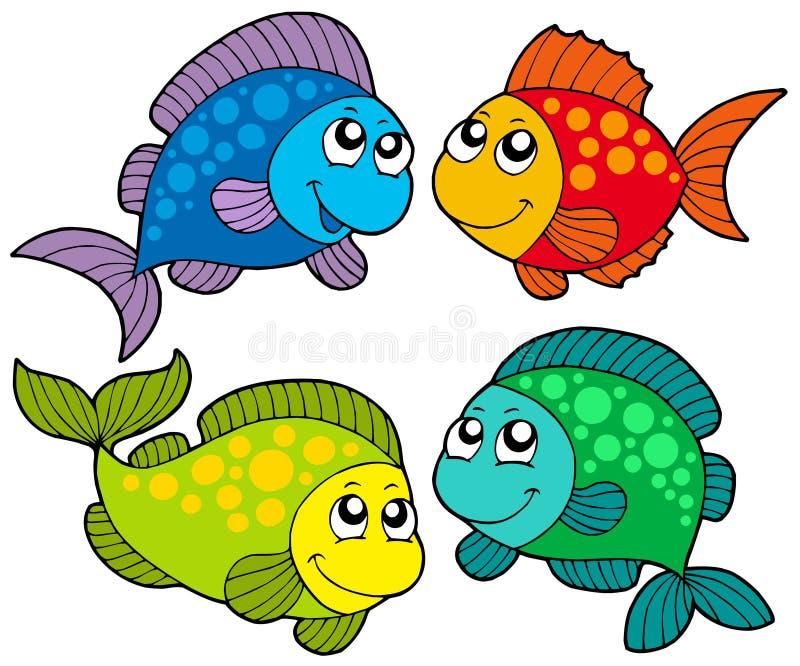 Os desenhos animados bonitos pescam a coleção ilustração do vetor