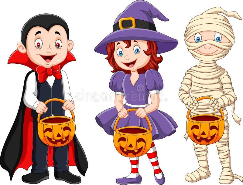 Os desenhos animados caçoam com o traje do Dia das Bruxas que guarda a cesta da abóbora ilustração royalty free