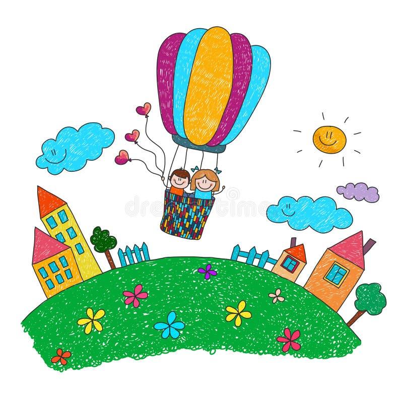 Os desenhos animados caçoam a montada de um balão de ar quente ilustração do vetor