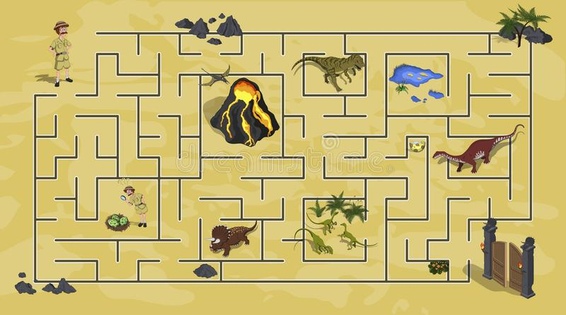 Os desenhos animados caçoam o labirinto no mundo do dinossauro Labirinto da maneira de Dino Trajeto do achado do pesquisador da a ilustração do vetor