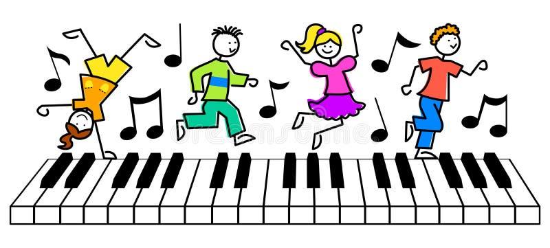 Os desenhos animados caçoam o teclado da música ilustração do vetor