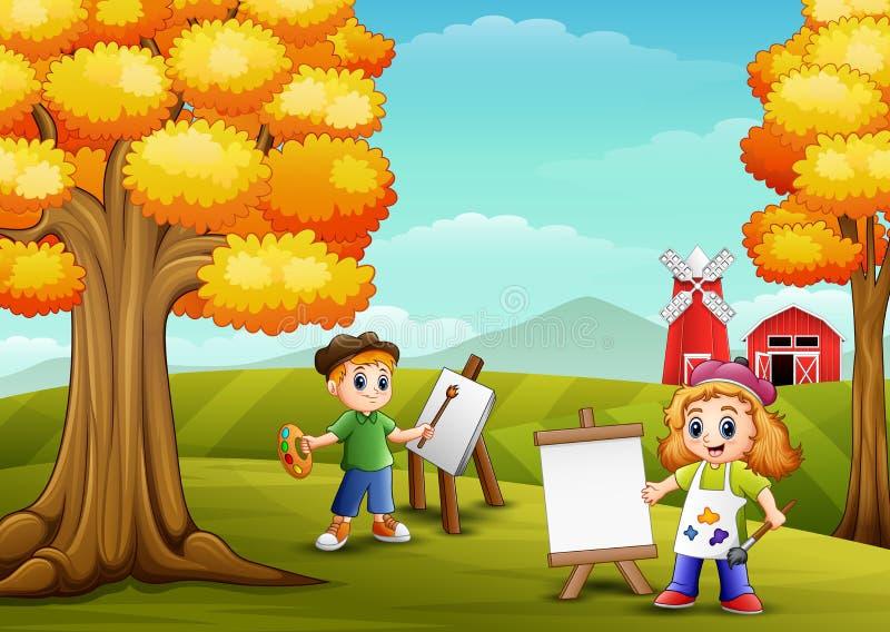 Os desenhos animados caçoam a pintura no fundo da exploração agrícola ilustração royalty free