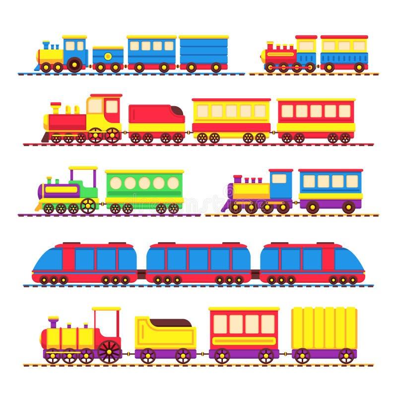 Os desenhos animados caçoam trens do brinquedo, locomotiva e grupo do vetor dos vagões ilustração royalty free