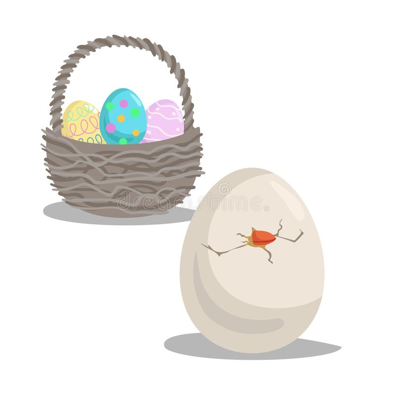 Os desenhos animados chocaram o ovo e a cesta com ovos pintados Símbolos lisos do ícone do projeto da Páscoa ilustração stock