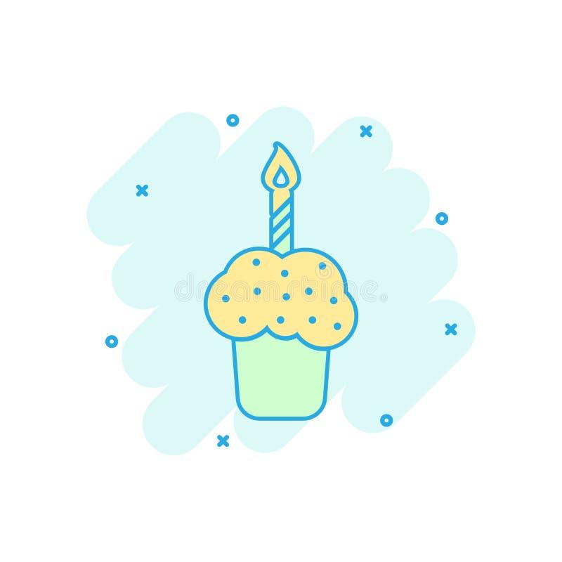 Os desenhos animados coloriram o ícone do bolo de aniversário no estilo cômico Muf fresco da torta ilustração do vetor