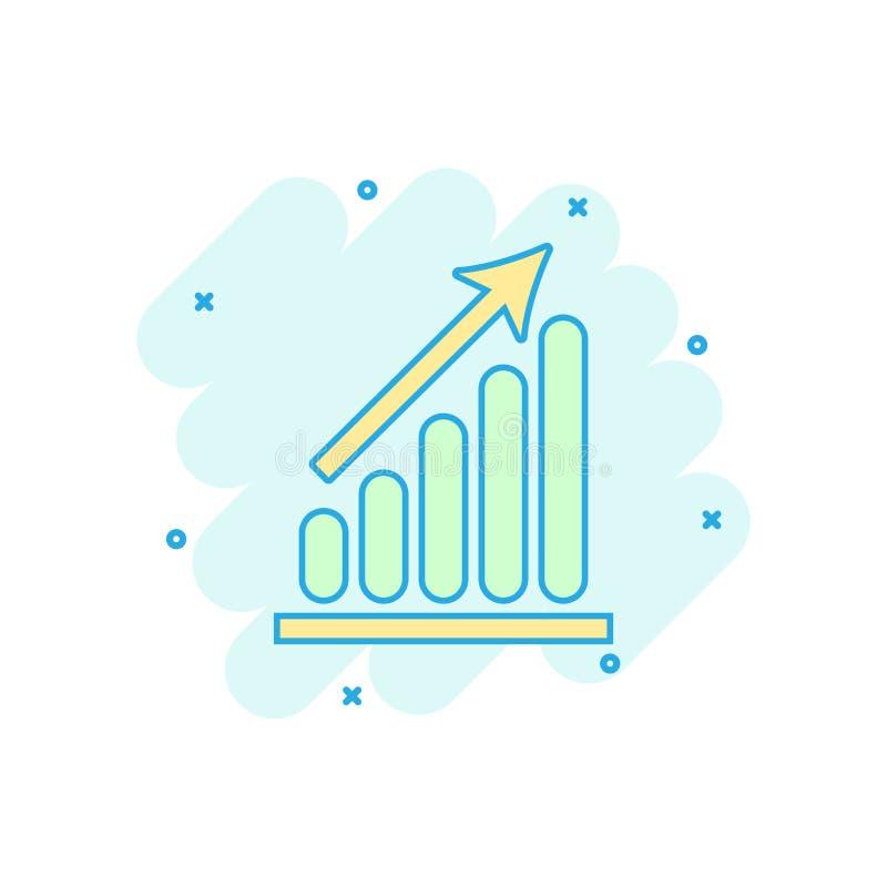Os desenhos animados coloriram o ícone do gráfico de negócio no estilo cômico Illust da carta ilustração stock