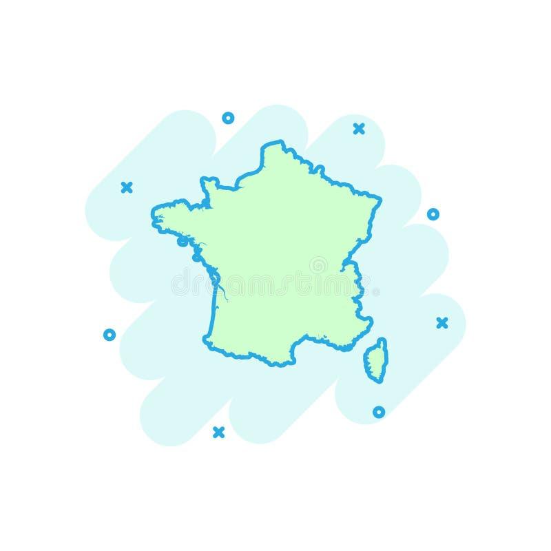Os desenhos animados coloriram o ícone do mapa de França no estilo cômico Illustra do país ilustração stock