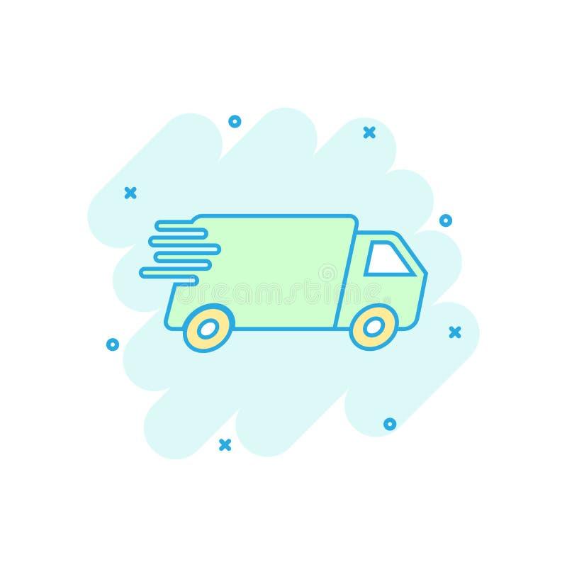 Os desenhos animados coloriram o caminhão, ícone do carro no estilo cômico SE rápido da entrega ilustração stock