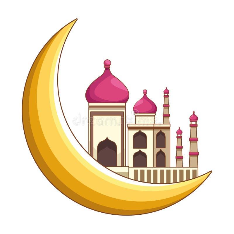 Os desenhos animados da lua mahal e de um quarto de Taj isolaram-se ilustração stock