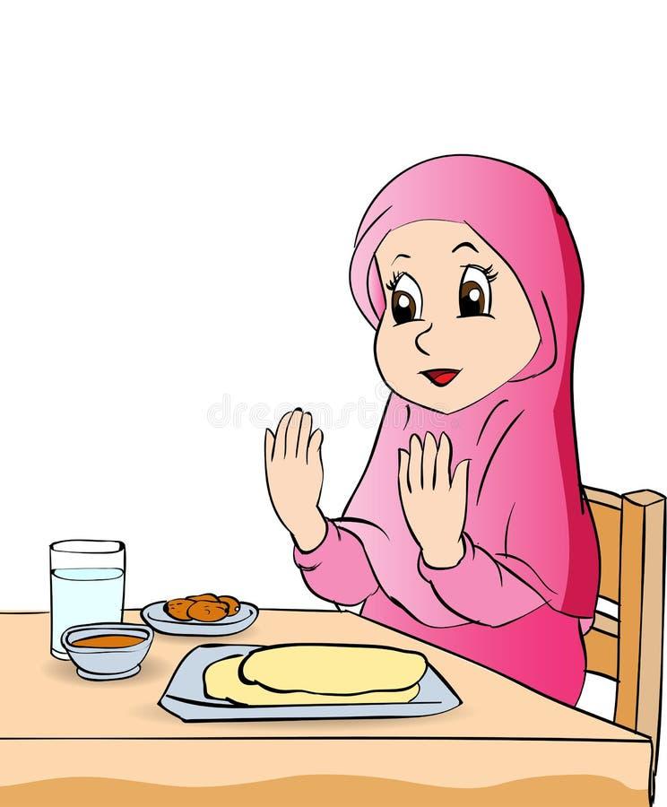 Os desenhos animados da menina rezam antes de comer a ilustração do vetor ilustração royalty free