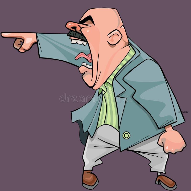 Os desenhos animados de um homem calvo agressivo em um terno gritam menacingly ilustração stock