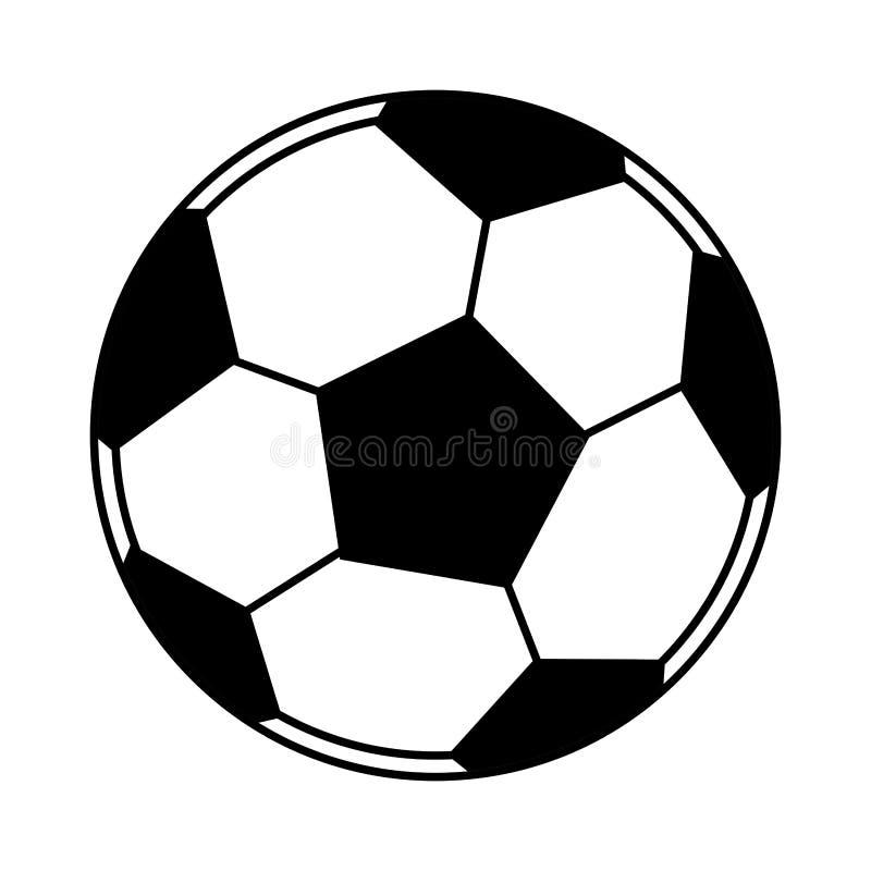 Os desenhos animados do ?cone do bal?o do futebol isolaram preto e branco ilustração stock