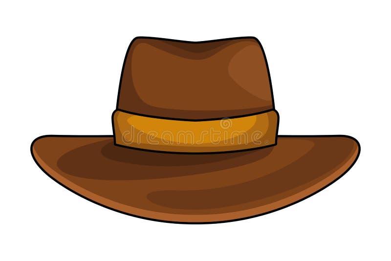 Os desenhos animados do ícone do chapéu de vaqueiro isolaram-se ilustração do vetor