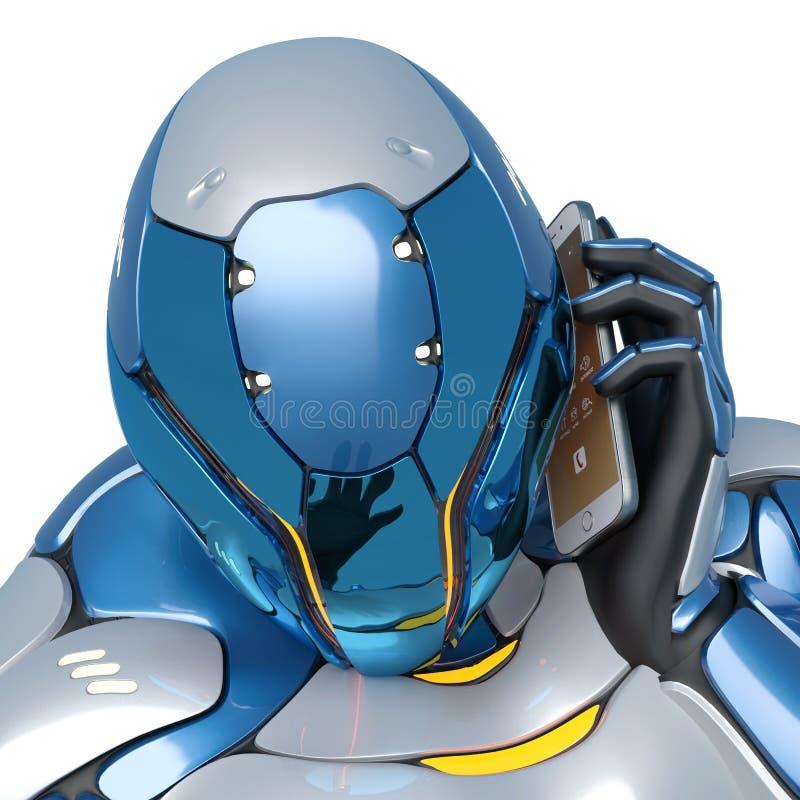 Os desenhos animados do astronauta de Sci fi estão falando no telefone celular em um fim branco do fundo acima ilustração do vetor