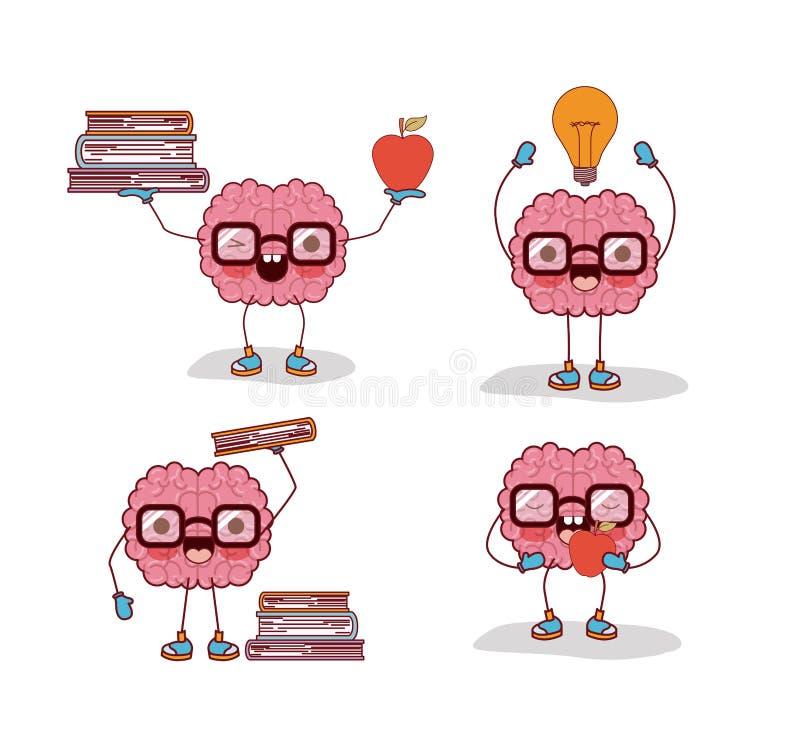 Os desenhos animados do cérebro ajustaram-se com vidros e livros e maçã e ampola no fundo branco ilustração do vetor