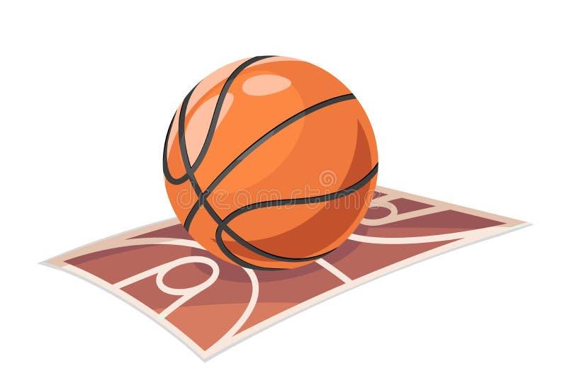 Os desenhos animados do esporte de campo da bola do basquetebol isolaram a ilustração do vetor do ícone ilustração do vetor