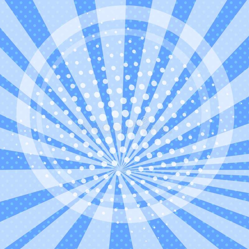 Os desenhos animados do fundo do pop art, sol irradiam o azul Círculo e sol Vetor ilustração stock