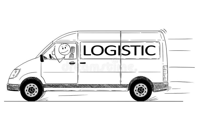 Os desenhos animados do motorista da entrega genérica Van With Logistic Text Showing manuseiam acima ilustração do vetor