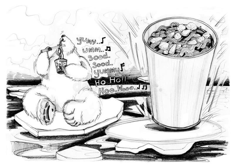 Os desenhos animados do urso da cola apreciam comer o copo do macarronete ilustração royalty free
