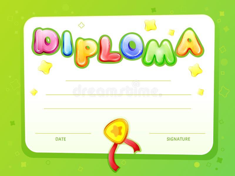 Os desenhos animados do vetor caçoam o molde do diploma do certificado ilustração stock