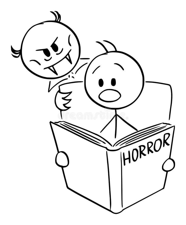 Os desenhos animados do vetor do homem Frightened que leem o livro assustador e o vampiro do horror estão olhando sobre seu ombro ilustração do vetor