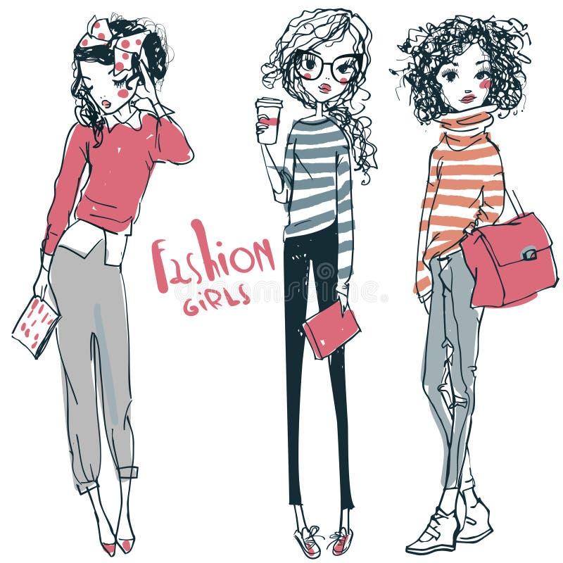 Os desenhos animados dois bonitos esbo?aram as meninas da forma ilustração royalty free