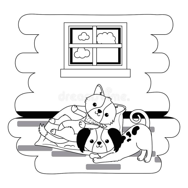 Os desenhos animados dos cães projetam ilustração royalty free
