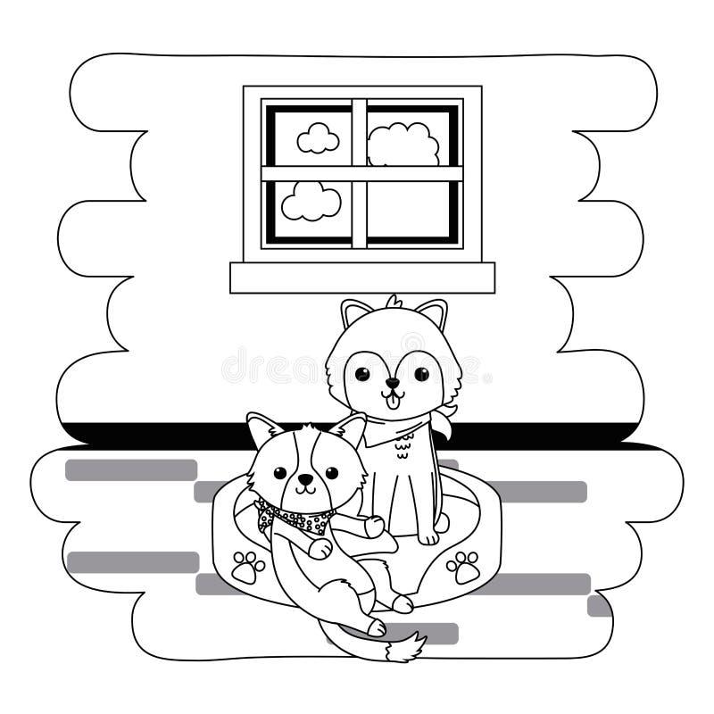 Os desenhos animados dos cães projetam ilustração stock
