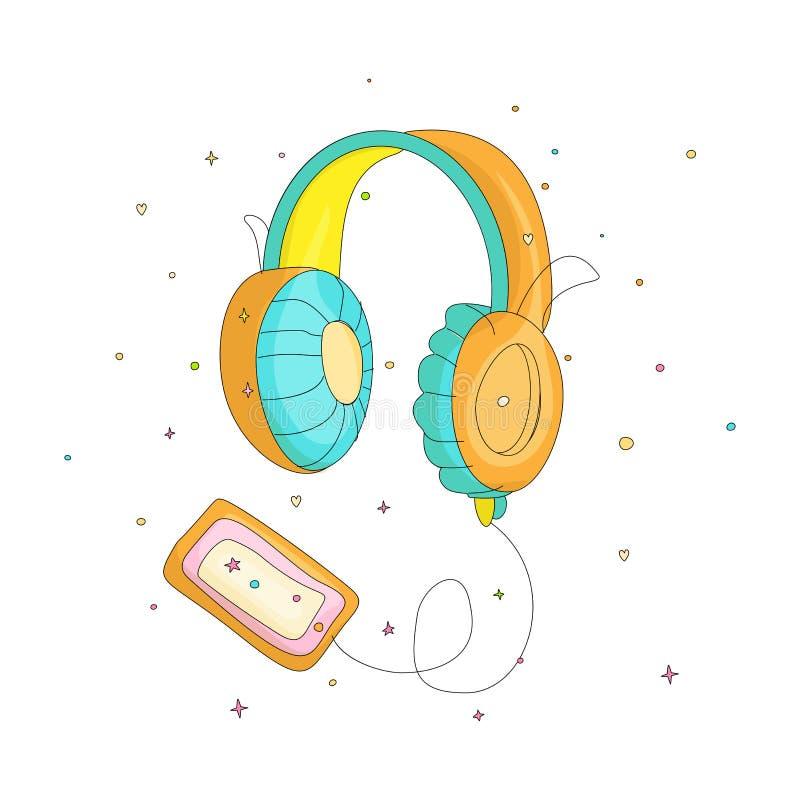 Os desenhos animados engraçados coloriram fones de ouvido com a gaveta retro do jogador Ilustração bonito do vetor dos auriculare ilustração royalty free