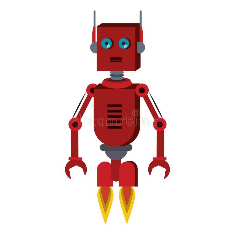 Os desenhos animados engraçados do caráter do robô isolaram-se ilustração do vetor