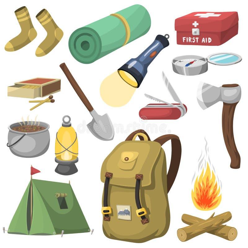 Os desenhos animados exteriores de acampamento do equipamento do curso denominam ícones do vetor no branco ilustração do vetor