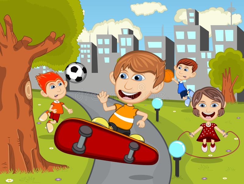 Os desenhos animados felizes bonitos caçoam o jogo da placa do patim, futebol, corda de salto, corredor, basquetebol nos desenhos ilustração stock