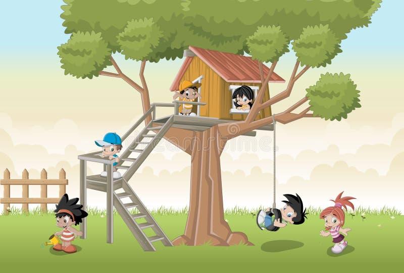 Os desenhos animados felizes bonitos caçoam o jogo na árvore da casa ilustração stock