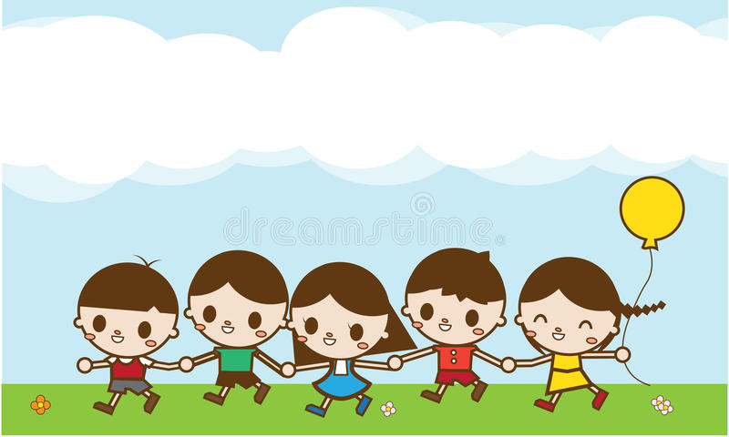Os desenhos animados felizes caçoam o corredor fora em um dia de verão imagem de stock royalty free