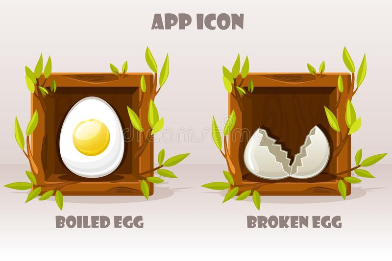 Os desenhos animados isolaram ovos no quadrado de madeira dos galhos Ajuste do ovo fervido e quebrado Ilustração do vetor Ícones  ilustração do vetor