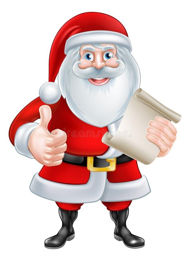 Os desenhos animados manuseiam acima de Santa com lista ilustração do vetor