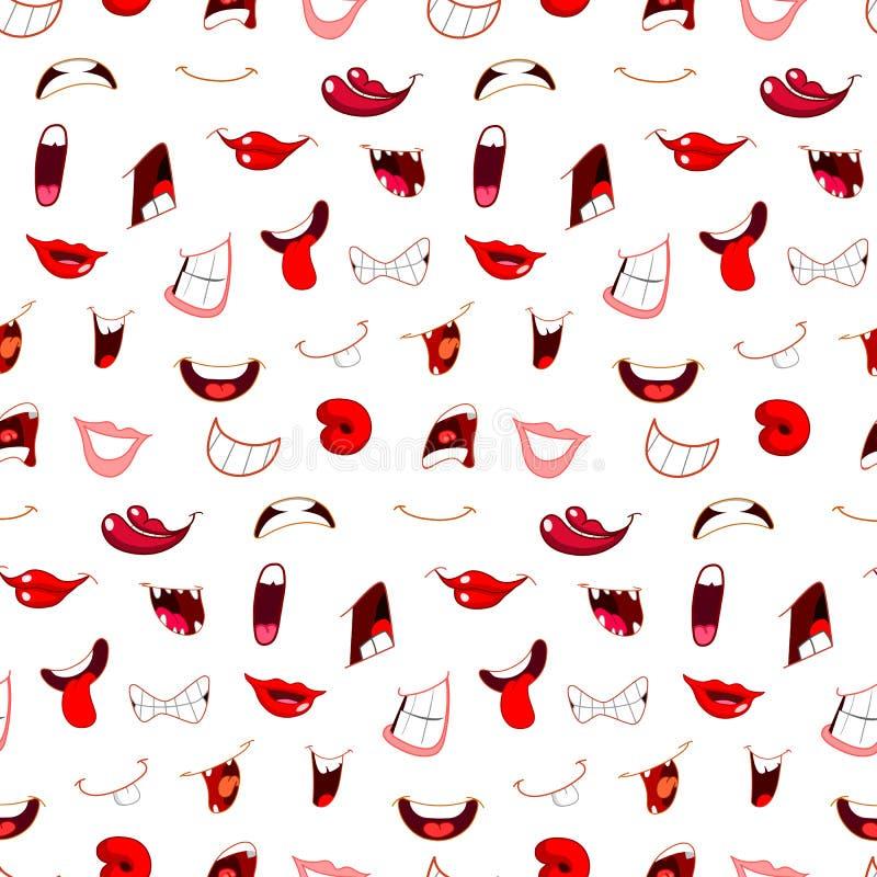 Os desenhos animados mouths o teste padrão ilustração stock