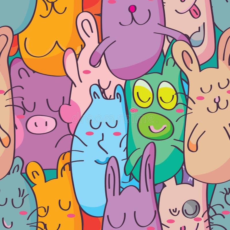 Os desenhos animados nenhuns bastante espaçam o teste padrão sem emenda ilustração do vetor