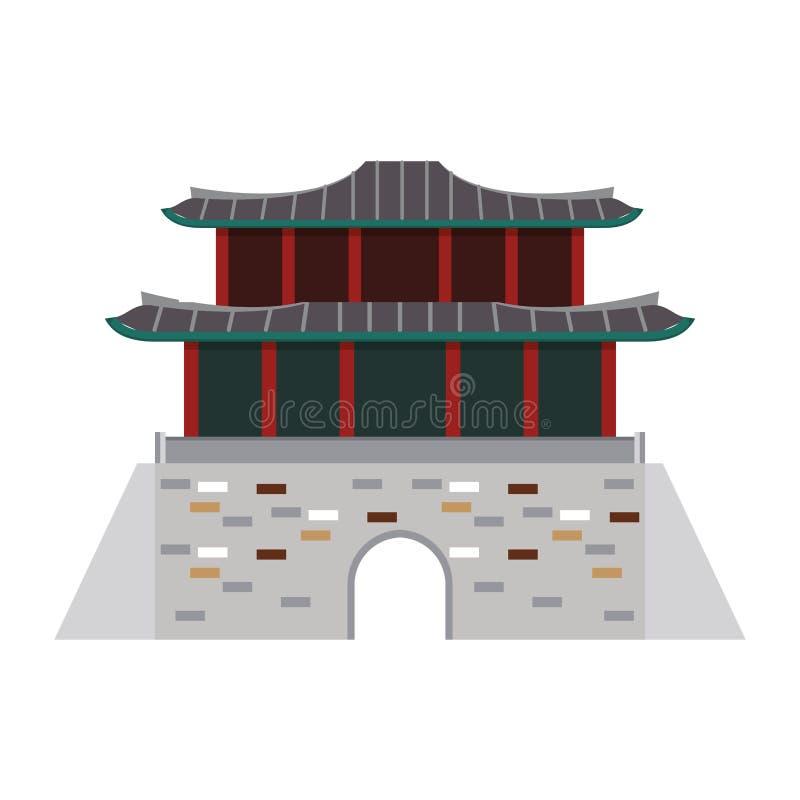 Os desenhos animados orientais do ícone do palácio isolaram-se ilustração royalty free