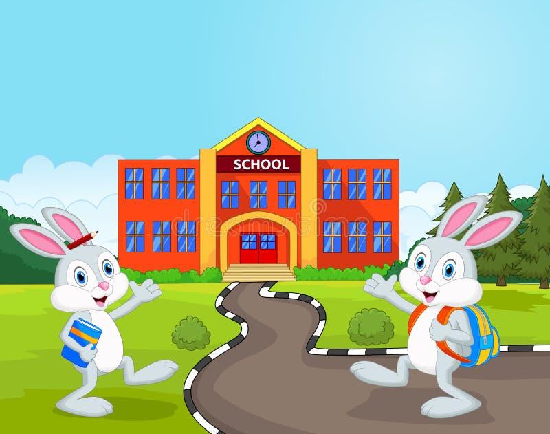 Os desenhos animados pequenos dos coelhos estão indo à escola ilustração royalty free