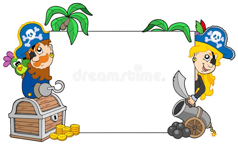 Os desenhos animados pirateiam a placa em branco da terra arrendada ilustração stock