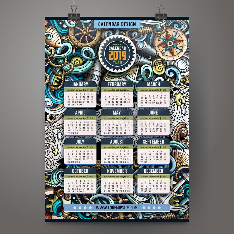 Os desenhos animados rabiscam o molde náutico do calendário de 2019 anos ilustração royalty free